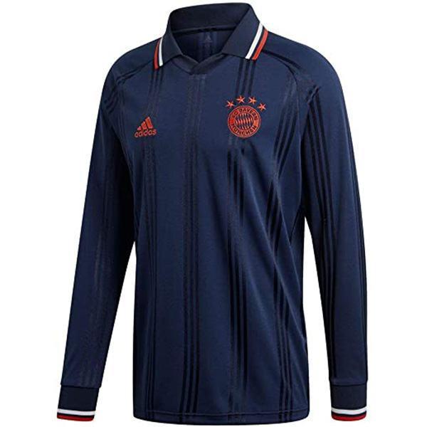 Bayern munich maglia da calcio a maniche lunghe vintage retro bayern monaco terza maglia da calcio sportiva da uomo nera