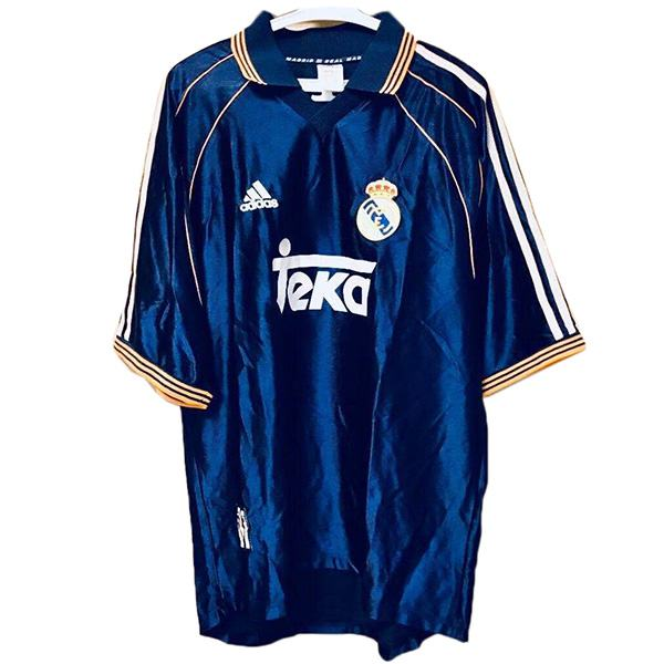 Real madrid away retro jersey maillot match men's 2ed sportwear football shirt 1998-2000