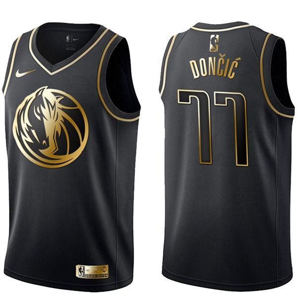 2019 all star game luka doncic 77 dallas mavericks black gold basketball jersey