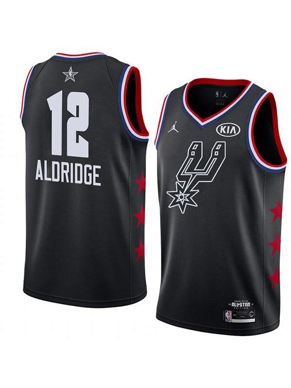 2019 All Star Game Men's Spurs 12 Aldridge Jordan Brand Black NBA Swingman Jersey