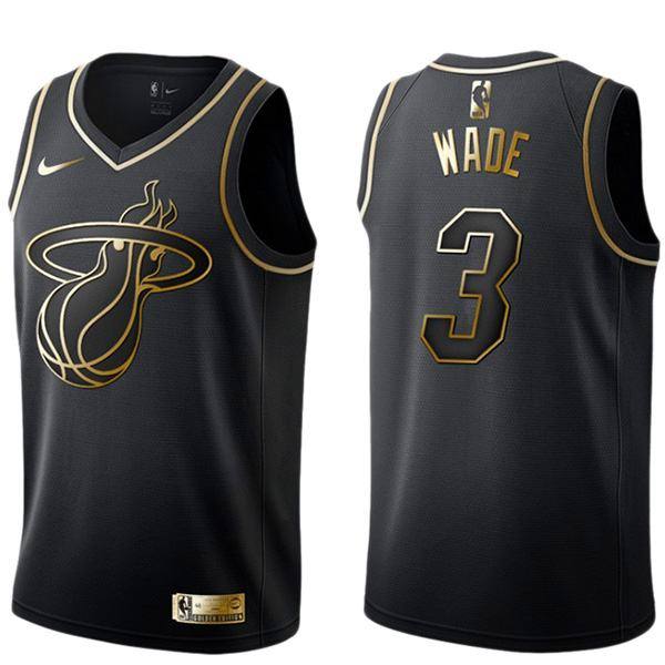 2019 all star game miami heat dwyane wade 3 black gold basketball jersey