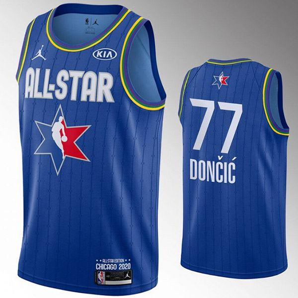 2020 all star game jordan dallas mavericks luka doncic 77 nba basketball swingman jersey blue edition shirt