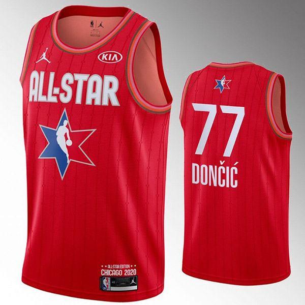 2020 all star game jordan dallas mavericks luka doncic 77 nba basketball swingman jersey red edition shirt