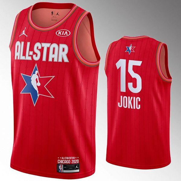 2020 all star game jordan denver nuggets nikola jokic 15 nba basketball swingman jersey red edition shirt