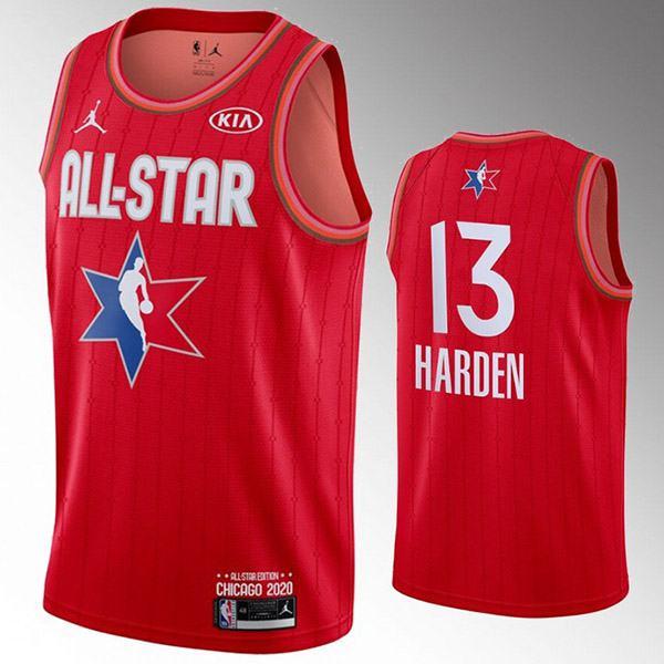 2020 all star game jordan houston rockets james harden 13 nba basketball swingman jersey red edition shirt