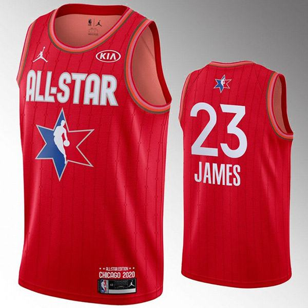 2020 all star game jordan los angeles lakers lebron raymone james 23 nba basketball swingman jersey red edition shirt