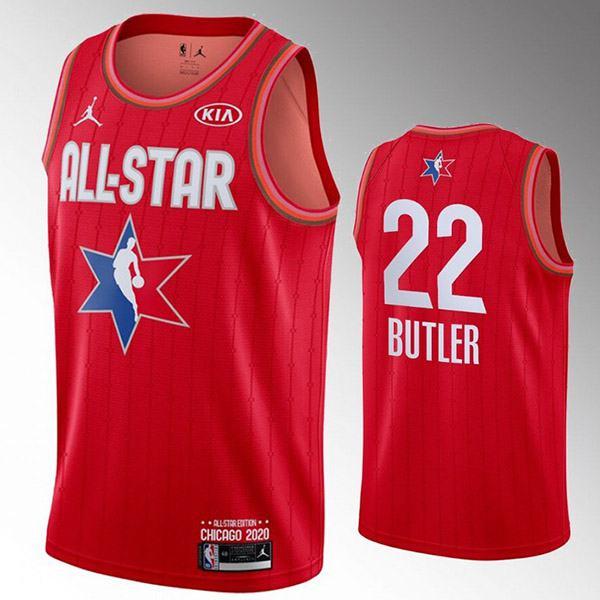 2020 all star game jordan miami heat jimmy butler 22 nba basketball swingman jersey red edition shirt