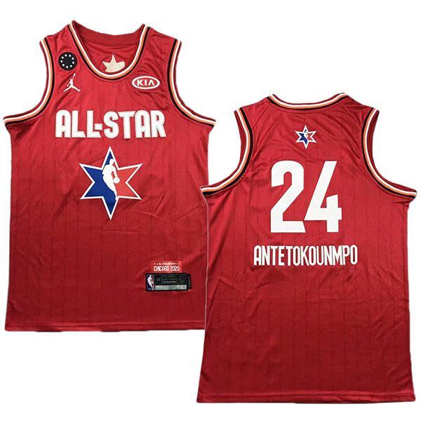 2020 all star game jordan milwaukee bucks giannis antetokounmpo 24 the alphabet nba basketball swingman jersey red edition shirt