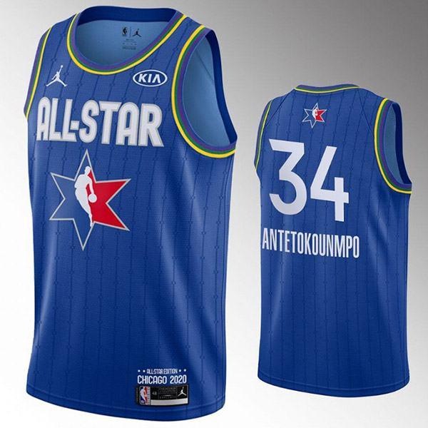 2020 all star game jordan milwaukee bucks giannis antetokounmpo 34 the alphabet nba basketball swingman jersey blue edition shirt