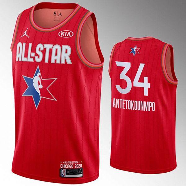 2020 all star game jordan milwaukee bucks giannis antetokounmpo 34 the alphabet nba basketball swingman jersey red edition shirt