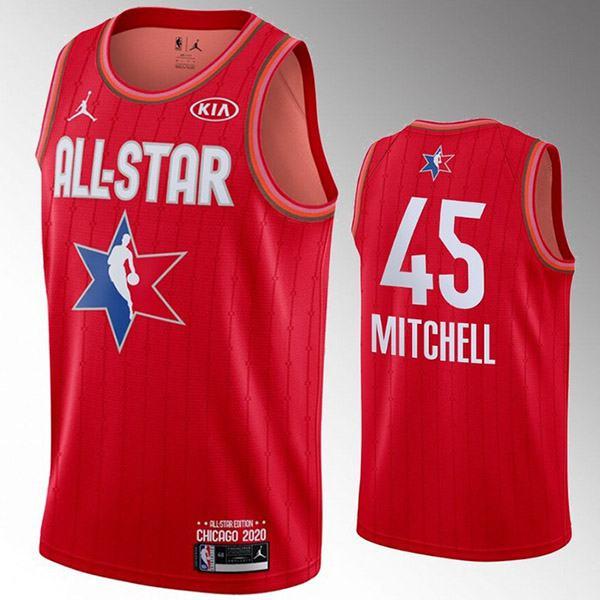 2020 all star game jordan milwaukee bucks tony mitchell 45 nba basketball swingman jersey red edition shirt
