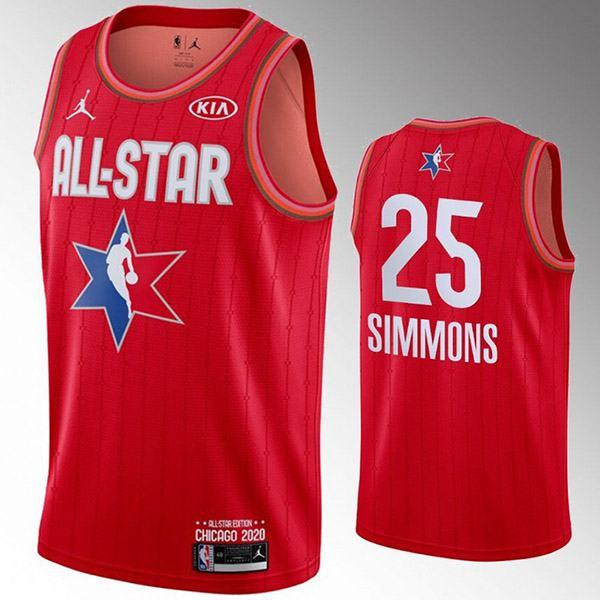 2020 all star game jordan philadelphia 76ers ben simmons 25 nba basketball swingman jersey red edition shirt