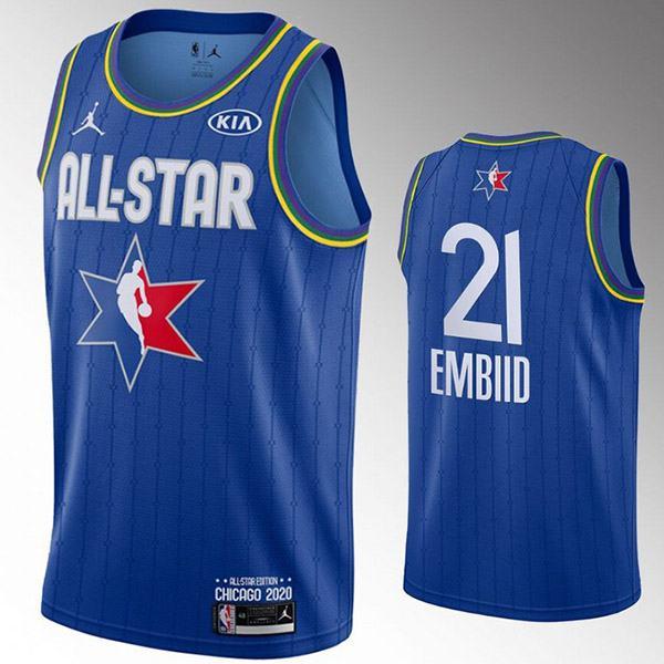 2020 all star game jordan philadelphia 76ers joel embiid 21 nba basketball swingman jersey blue edition shirt