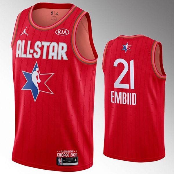 2020 all star game jordan philadelphia 76ers joel embiid 21 nba basketball swingman jersey red edition shirt