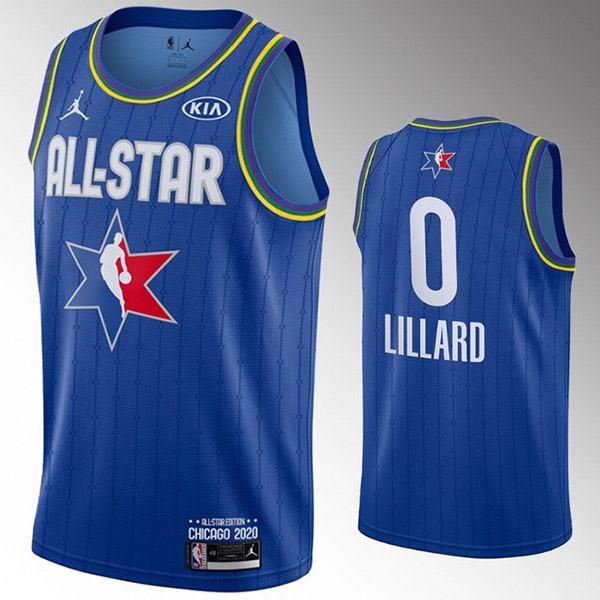 2020 All Star Game Jordan Portland Trail Blazers Damian Lillard 0 NBA Basketball Swingman Jersey Blue Edition Shirt