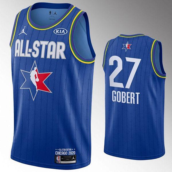2020 all star game jordan utah jazz rudy gobert 27 nba basketball swingman jersey blue edition shirt