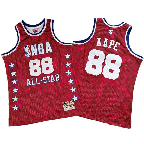 AAPE X Mitchell & NESS all star retro basketball jersey edition swingman vest red 1988