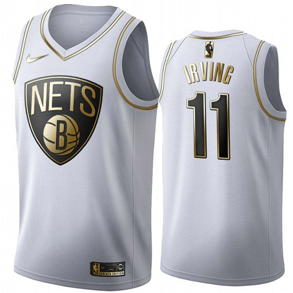 All Star Game Brooklyn Nets 11 Kyrie Irving White Gold Basketball Edition Limited Jersey 2020