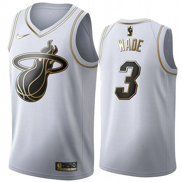 All Star Game Miami Heat 3 Dwyane Wade White Gold Basketball Edition Limited Jersey 2020