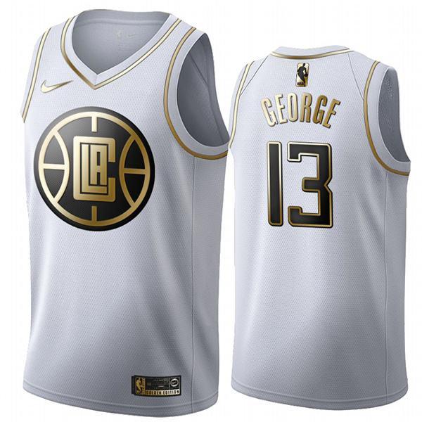 All Star Game NBA Los Angeles Clippers 13 Paul George PG-13 White Gold Basketball Edition Limited Jersey 2020