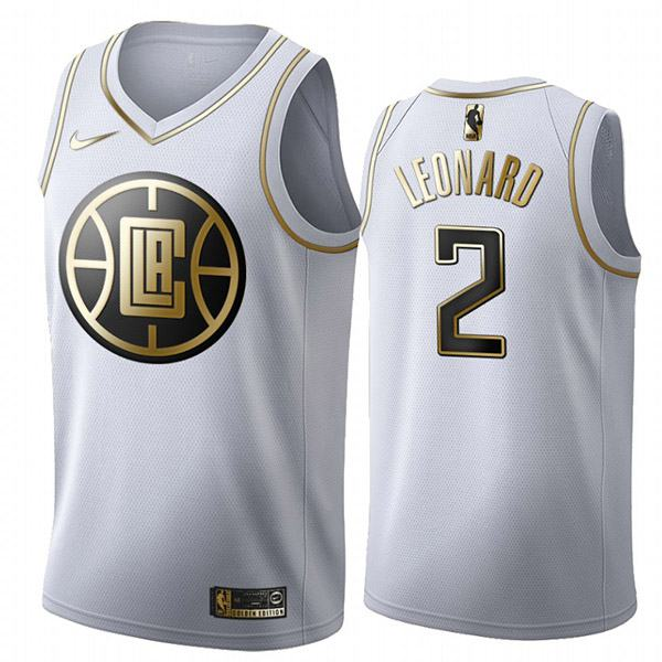 All Star Game NBA Los Angeles Clippers 2 Kawhi Leonard  White Gold Basketball Edition Limited Jersey 2020