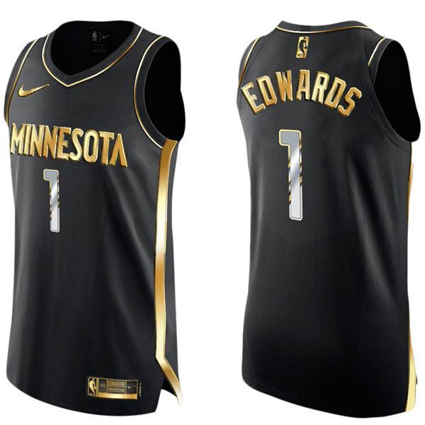Anthony Edwards 1 Minnesota Timberwolves Golden Edition Limited Authentic Maglia da basket nera 2021