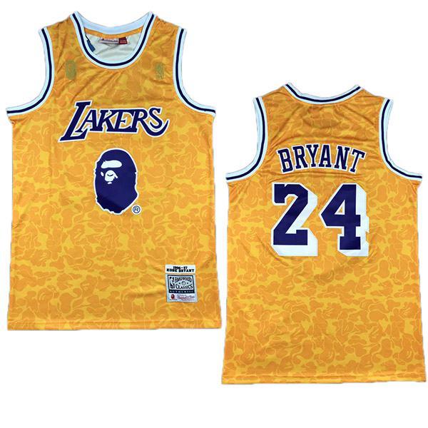 BAPE X NBA los angeles lakers 24 kobe bryant retro gold basketball jersey edition swingman vest