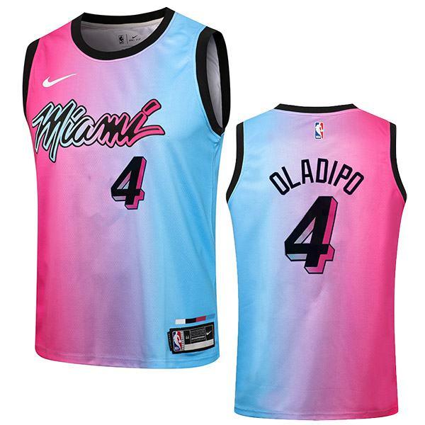 Miami Heat Maglia da uomo 4 Victor Oladipo city nba basketball swingman jersey viola blue edition shirt 2021
