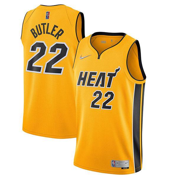 Miami Heat Maglia Swingman Earned Edition Maglia da basket da uomo Jimmy Butler 22 gialla 2021