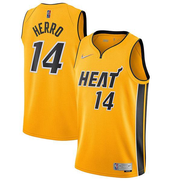 Miami Heat Maglia Swingman Earned Edition Maglia da basket Tyler Herro 14 da uomo gialla 2021