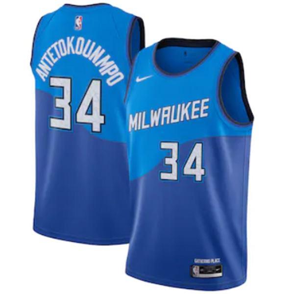 Milwaukee Bucks 34 Giannis Antetokounmpo nba basketball swingman city jersey The Alphabet blue edition shirt 2021