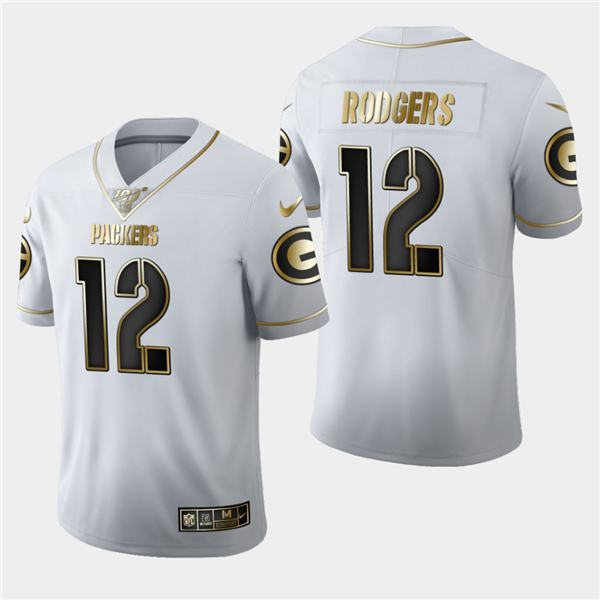 Men's nfl american national football aaron rodgers packers 12 white gray limited edition jersey 2020