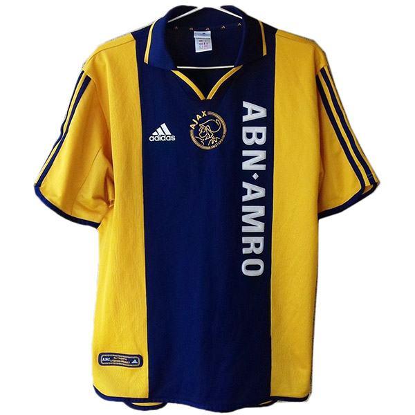 Ajax away retro jersey soccer maillot match men's 2ed sportwear football shirt yellow navy 2001