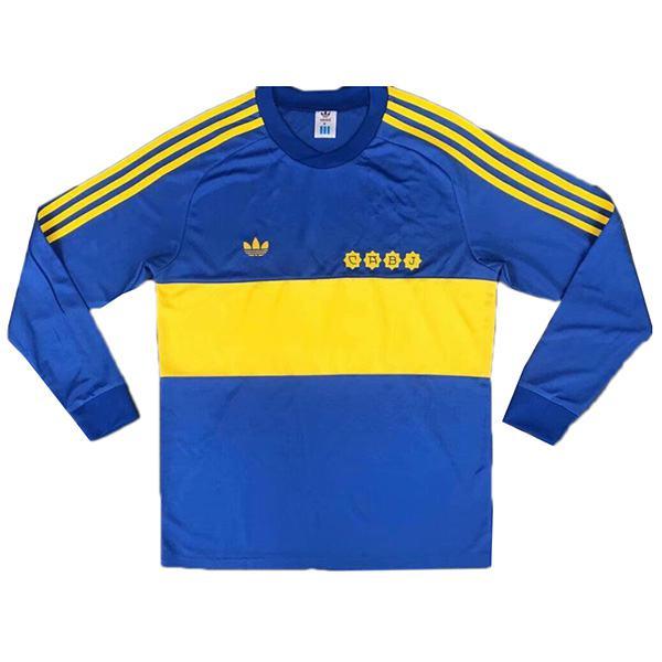 Boca Juniors home long sleeve retro soccer jersey maillot match men's first sportwear football shirt 1981
