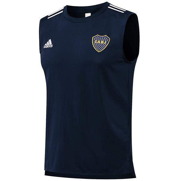 Boca juniors maglia da calcio senza maniche da uomo partita sportswear calcio stretto swingman gilet navy 2021-2022