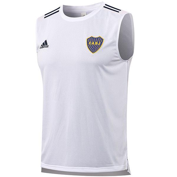 Boca juniors maglia da calcio senza maniche da uomo partita sportswear calcio stretto swingman gilet bianco 2021-2022
