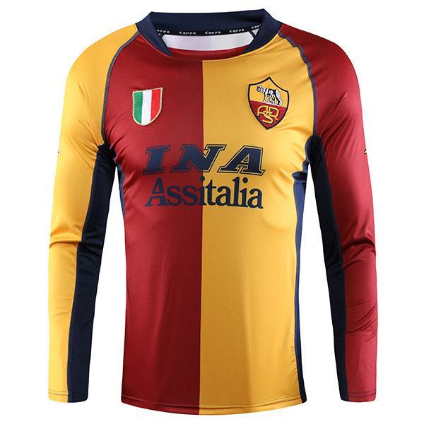 AS roma home retro long sleeve soccer jersey maillot match men's 1st sportwear football shirt 2001-2002