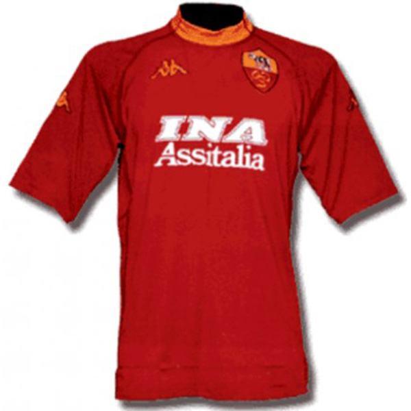 AS roma home retro soccer jersey maillot match men's first sportwear football shirt 2000-2001