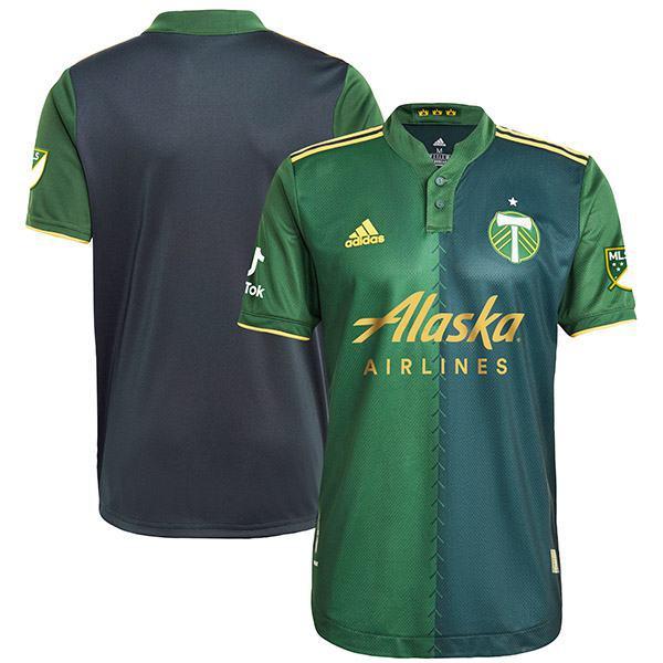 Portland Timbers maglia autentica primaria home di t-shirt sportiva da calcio prima maglia da calcio da uomo abbigliamento sportivo 2021