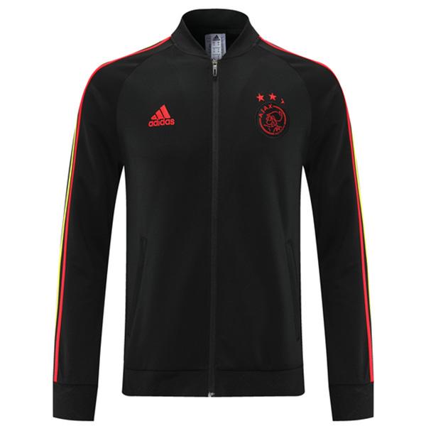 Ajax giacca calcio abbigliamento sportivo tuta con cerniera intera maglia da allenamento da uomo atletico cappotto da calcio all'aperto nero rosso 2021-2022
