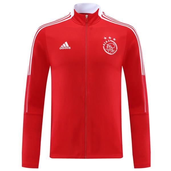 Ajax giacca calcio sportswear tuta full zip maglia allenamento atletico outdoor calcio cappotto rosso 2021-2022