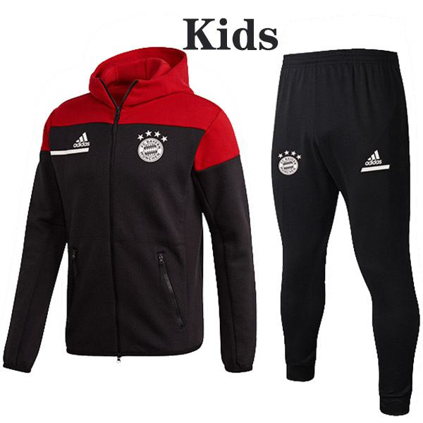 Bayern Munich Hoodie Jacket Suit Tracksuit Kids Kit Soccer Pants Suit Sports Set Hight Necked Cleats Youth Clothes Children Football Training Jersey Black Red 2020-2021