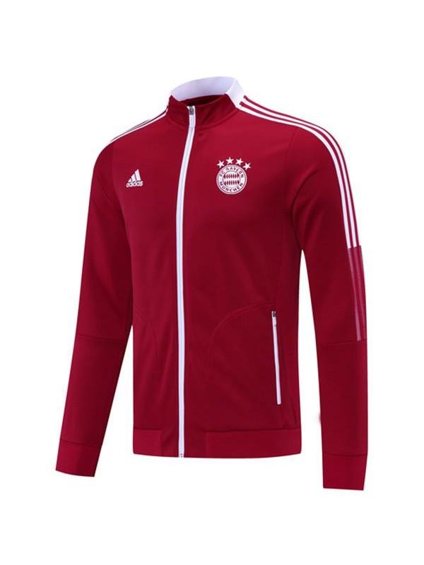Bayern Monaco Giacca Tuta Borland Football Sportswear Tuta Full Zipper Kit da allenamento per uomo Collo Athletic Outdoor Red Soccer Coat 2021-2022