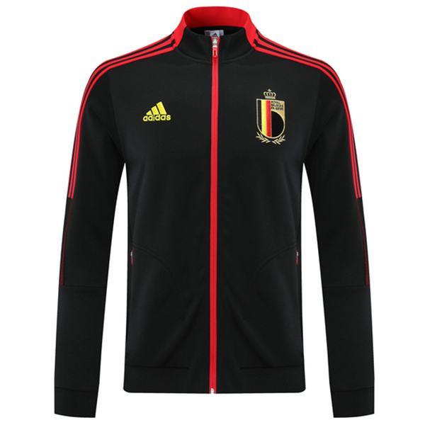 Giacca belga Calcio Abbigliamento sportivo Tuta Full Zipper Maglia da allenamento Athletic Outdoor Cappotto da calcio Nero 2021-2022