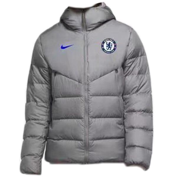 Chelsea felpa con cappuccio invernale cappotto in cotone giacca da uomo abbigliamento caldo giacca a vento atletico all'aperto cappotto da calcio argento 2021-2022