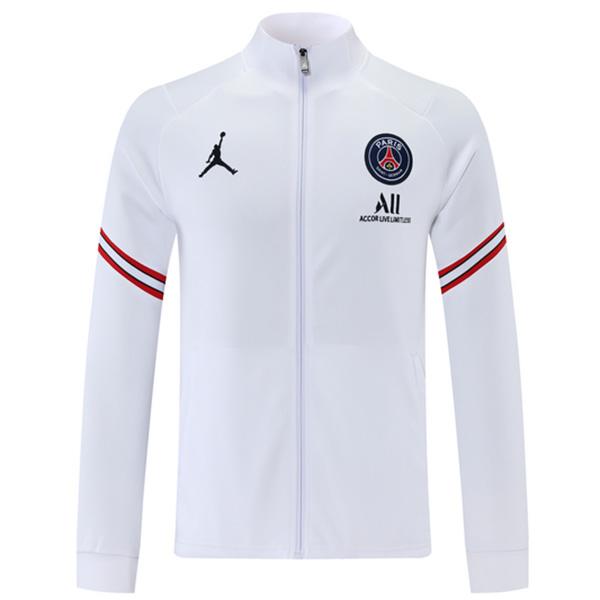 Jordan air fly paris saint germain giacca calcio sportswear tuta full zip maglia allenamento uomo kit bianco 2021-2022