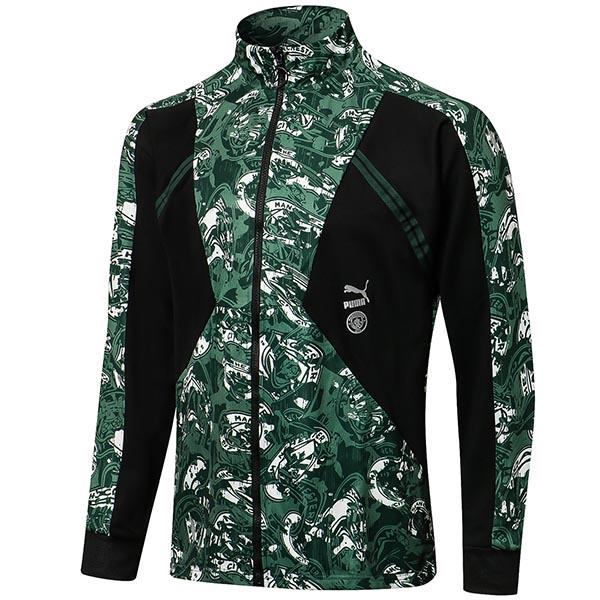 Manchester City giacca calcio abbigliamento sportivo tuta con cerniera completa maglia da allenamento da uomo atletico calcio esterno cappotto verde 2021-2022