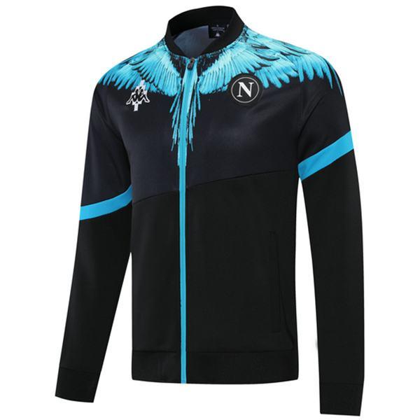 Napoli Giacca Calcio Abbigliamento sportivo Tuta Full Zipper Kit da allenamento da uomo Cappotto da calcio atletico all'aperto Nero Blu 2021-2022