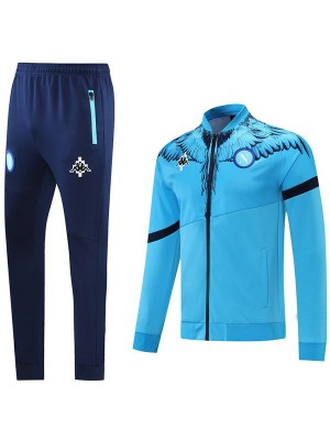 Napoli Giacca Calcio Abbigliamento sportivo Tuta Full Zipper Kit da allenamento da uomo Cappotto da calcio all'aperto atletico Blu 2021-2022