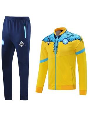 Napoli Giacca Calcio Abbigliamento sportivo Tuta Completo Cerniera Kit da allenamento da uomo Cappotto da calcio all'aperto atletico Giallo 2021-2022
